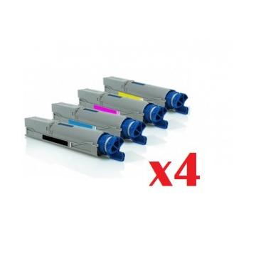 PACK 4 OKI C3300/C3400/C3450/C3520/C3530/C3600/MC350/MC360 COMPATIBLE