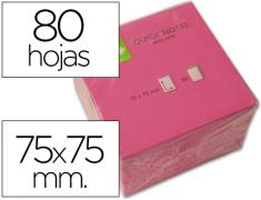 Q-CONNECT BLOC 80 NOTAS REPOSICIONABLES 76 X 76 MM ROSA NEON