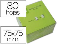 Q-CONNECT BLOC 80 NOTAS REPOSICIONABLES 76 X 76 MM VERDE NEON